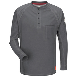 Bulwark® X-Large Regular Charcoal Westex G2™ fabrics by Milliken®/Cotton/Polyester/Polyoxadiazole Flame Resistant Henley Shirt With Button Front Closure