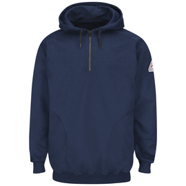 Bulwark® X-Large Tall Navy Cotton Spandex Brushed Fleece Flame Resistant Hooded Sweatshirt With 1/4 Zip Closure