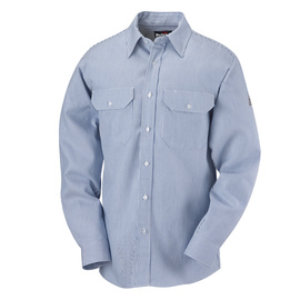 Bulwark® Regular Medium White And Blue Cotton Flame Resistant Work Shirt With Button Closure