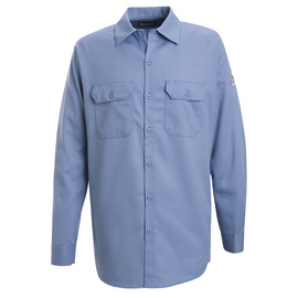 Bulwark® 2X Regular Blue Cotton Flame Resistant Work Shirt With Button Closure