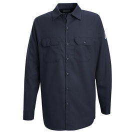 Bulwark® X-Large Tall Navy Cotton Flame Resistant Work Shirt With Button Closure