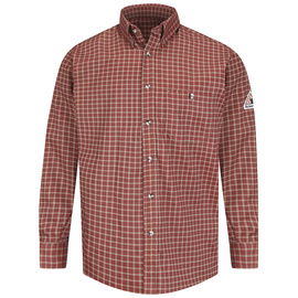 Bulwark® Large Tall Red And Khaki Cotton Nylon Flame Resistant Work Shirt With Button Closure