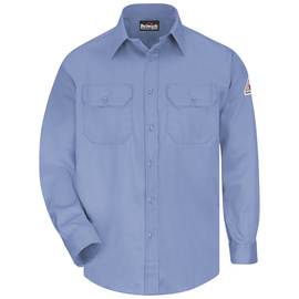 Bulwark® 2X Tall Blue Cotton Nylon Flame Resistant Work Shirt With Button Closure