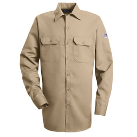 Bulwark® 2X Regular Khaki Cotton Nylon Flame Resistant Work Shirt With Button Closure