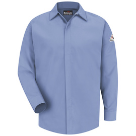 Bulwark® 2X Tall Blue Modacryclic® Lyocell Aramid Flame Resistant Work Shirt With Concealed Gripper Closure