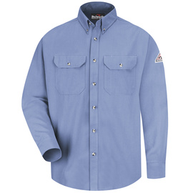 Bulwark® 3X Regular Blue Modacryclic® Lyocell Aramid Flame Resistant Work Shirt With Button Closure