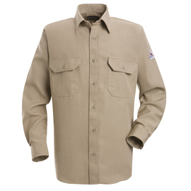 Bulwark® X-Large Regular Tan Nomex® Aramid Kevlar® Aramid Flame Resistant Work Shirt With Button Closure