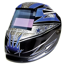 ArcOne® Carrera™ Black/Blue/White/Silver Welding Helmet Variable Shades 4, 9 - 13 Auto Darkening Lens, Shade Master® Professional Grade And Rockstar Graphics