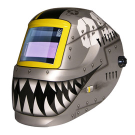 ArcOne® Carrera™ Gray/Black/White/Yellow Welding Helmet Variable Shades 4, 9 - 13 Auto Darkening Lens, Shade Master® Professional Grade And Fighting Tiger Graphics