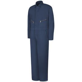 Red Kap Large Regular Navy Polyester Lined 7.25 Ounce Polyester Cotton Coveralls