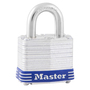 Master Lock® Silver/Blue Laminated Steel General Security Padlock Hardened Steel Shackle