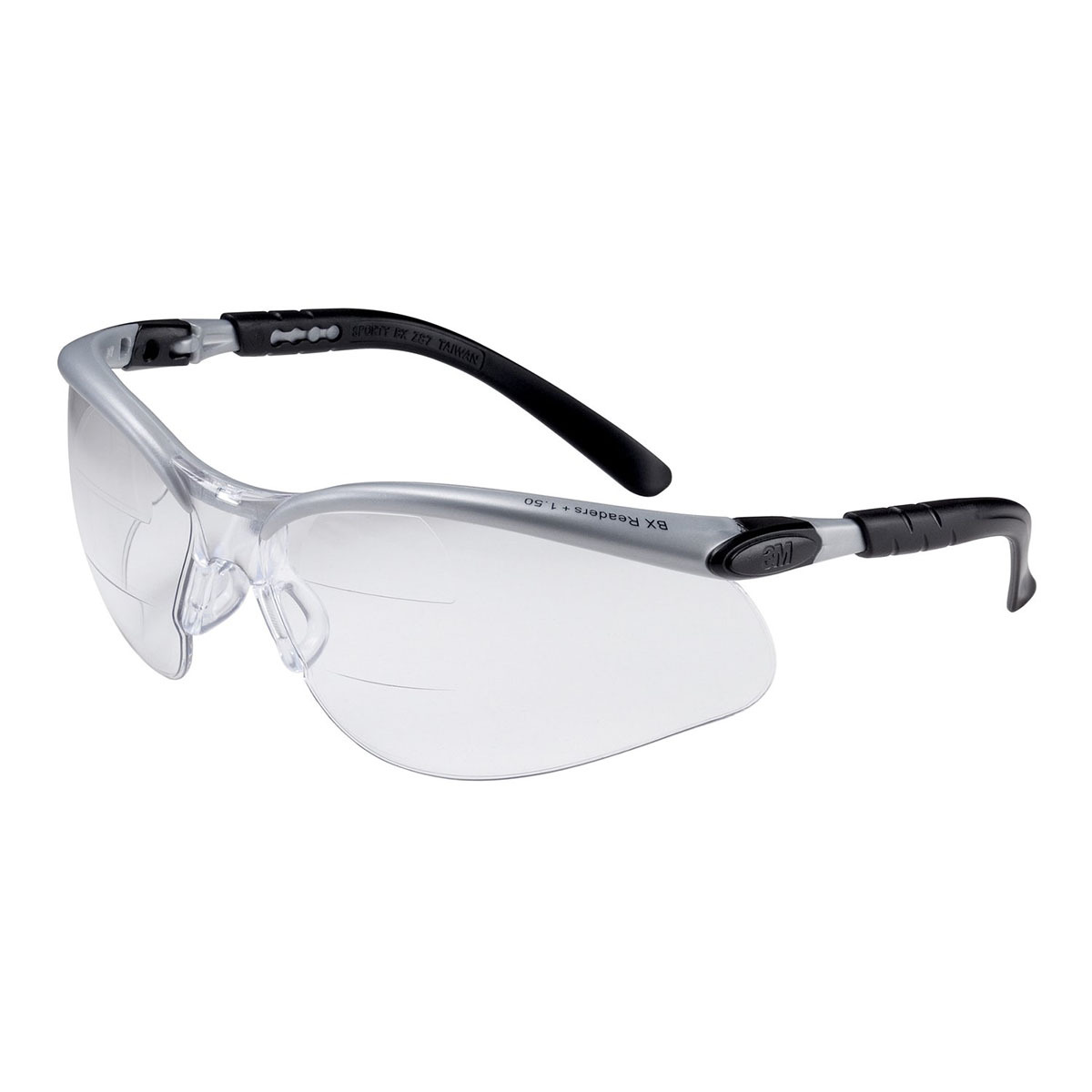 2b48a902a88a 3M™ BX™ Dual Readers 1.5 Diopter Silver And Black Frame Safety Glasses With  Clear