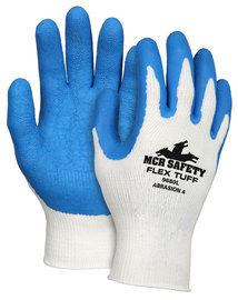 MCR Safety Large FlexTuff® 10 Gauge Blue Latex Palm And Finger Tip Coated Work Gloves With White Cotton/Polyester Liner And Knit Wrist