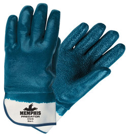 MCR Safety® Large Predator® Blue Premium Rough Nitrile Full Dip Coating Work Gloves With Natural Jersey Liner And Safety Cuff