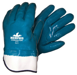 MCR Safety® Large Predator® Blue Premium Nitrile Full Dip Coating Work Gloves With Natural Jersey/Foam Liner And Safety Cuff