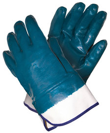 MCR Safety® Large Blue Light Nitrile Full Dip Coating Work Gloves With White Jersey Liner, Safety Cuff And Rough Finish