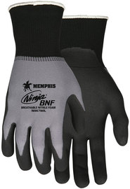 MCR Safety® Medium Ninja® 15 Gauge Black Breathable Nitrile Foam And NFT® Palm And Fingertip Coated Work Gloves With Gray Nylon And Spandex Liner And Knit Wrist