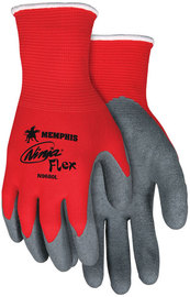 MCR Safety Large Ninja® Flex 15 Gauge Gray Latex Palm And Finger Tip Coated Work Gloves With Red Nylon Liner And Knit Wrist
