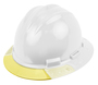 Bullard® White AboveView ™ HDPE Full Brim Hard Hat With Flex-Gear® 4 Point Ratchet Suspension, Yellow See-Through Visor And Vinyl Brow Pad
