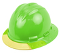 Bullard® Hi-Viz Green AboveView ™ HDPE Full Brim Hard Hat With Flex-Gear® 4 Point Ratchet Suspension, Yellow See-Through Visor And Cotton Brow Pad