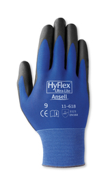 Ansell Large HyFlex® 18 Gauge/Ultra Light Weight Polyurethane Work Gloves With Black/Blue Nylon Liner And Elastic/Knit Wrist