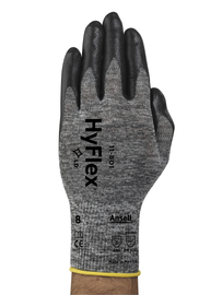 Ansell Size 6 HyFlex® Light Weight Foam Nitrile Work Gloves With Black And Gray Nylon Liner And Knit Wrist