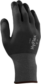 Ansell Size 8 HyFlex® Light Weight Foam Nitrile And FORTIX™ Work Gloves With Black And Gray Nylon And Spandex® Liner And Knit Wrist