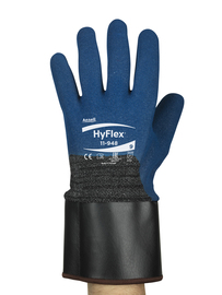 Ansell Size 9 HyFlex® 13 Gauge Nitrile Work Gloves With Blue And Black Techcor® Liner And Safety Cuff