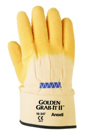 Ansell Size 10 Golden Grab-It® II Heavy Weight Latex And Natural Rubber Work Gloves With Yellow Jersey And Knit Liner And Safety Cuff