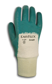 Ansell Size 8.5 Easy Flex® Light Weight Nitrile Work Gloves With Green And White Cotton And Knit Liner And Knit Wrist Cuff