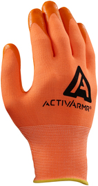 Ansell Size 10 ActivArmr® 15 Gauge Nitrile Work Gloves With Hi-Viz Orange And Orange Nylon And Spandex® Liner And Knit Wrist