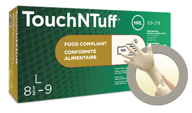 Ansell Small White TouchNTuff® 5 mil Latex Powder-Free Disposable Gloves (100 Gloves Per Box)