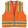 Ergodyne 2X - 3X Orange GloWear® 8254HDZ Polyester/Polyester Mesh Heavy-Duty Surveyor Vest With Mesh Back