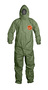 DuPont™ Medium Green Tychem® 2000 SFR Flame Resistant Hooded Coveralls With Front Zipper Storm Flap Closure And Taped Seam