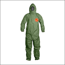 Dupont green Tychem 2000 SFR flame resistant hooded coveralls with front zipper closure storm flap closure and taped seam