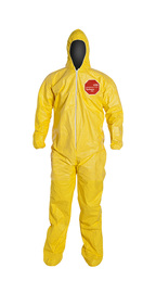 DuPont™ X-Large Yellow Tychem® 2000 10 mil Polyethylene Coated Tyvek® Bib Pants/Overalls