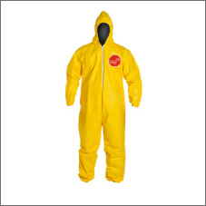 DuPont Tychem 2000 10-mil yellow polyethylene-coated disposable hooded bib-pants/protective coveralls
