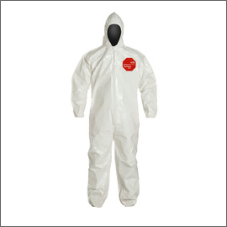 DuPont Tychem 4000 12-mil white disposable hooded protective bib-pants/coveralls