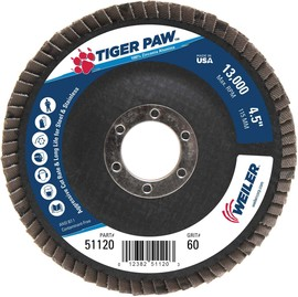 Weiler® TIGer Paw™ 4 1/2 X 7/8 60 Grit Type 29 Flap Disc