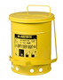 Justrite™ 6 Gallon Yellow Galvanized Steel Oily Waste Can With Foot Lever Opening Device