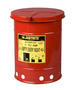 Justrite™ 6 Gallon Red Galvanized Steel Oily Waste Can With Hand Operated Opening Device