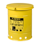 Justrite® 6 Gallon Yellow Galvanized Steel Oily Waste Can With Hand Operated Opening Device