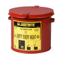 Justrite™ 2 Gallon Red Galvanized Steel Countertop Oily Waste Can With Hand Operated Opening Device