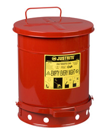 Justrite® 10 Gallon Red Galvanized Steel Oily Waste Can With Foot Lever Opening Device