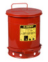 Justrite™ 10 Gallon Red Galvanized Steel Oily Waste Can With Foot Lever Opening Device