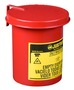 Justrite® 0.45 Gallon Red Galvanized Steel Mini Benchtop Oily Waste Can With SoundGard™ Hand Operated Opening Device