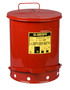 Justrite™ 14 Gallon Red Galvanized Steel Oily Waste Can With Foot Lever Opening Device