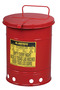 Justrite™ 14 Gallon Red Galvanized Steel Oily Waste Can With Hand Operated Opening Device