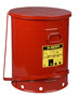 Justrite™ 21 Gallon Red Galvanized Steel Oily Waste Can With Foot Lever Opening Device