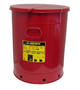 Justrite® 21 Gallon Red Galvanized Steel Oily Waste Can With Hand Operated Opening Device